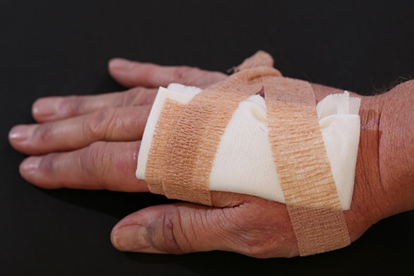 bandaged hand for a cut