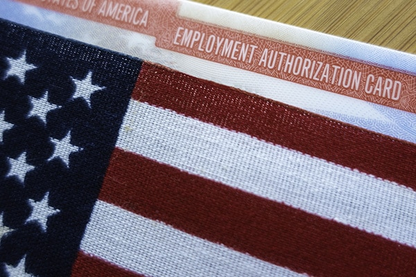 Employment Authorization Card with American flag