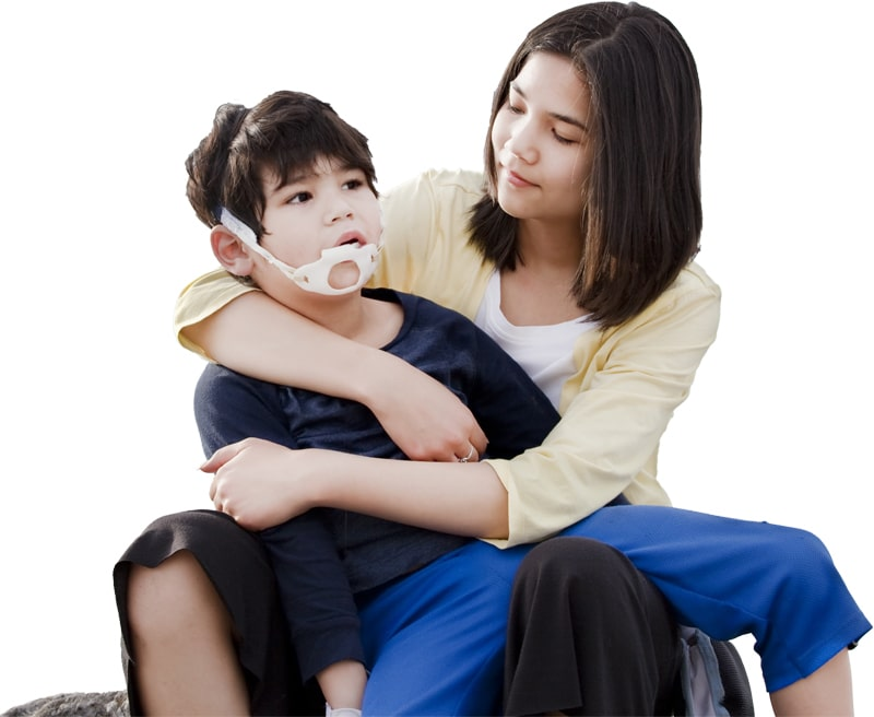 woman holding her child with cerebral palsy